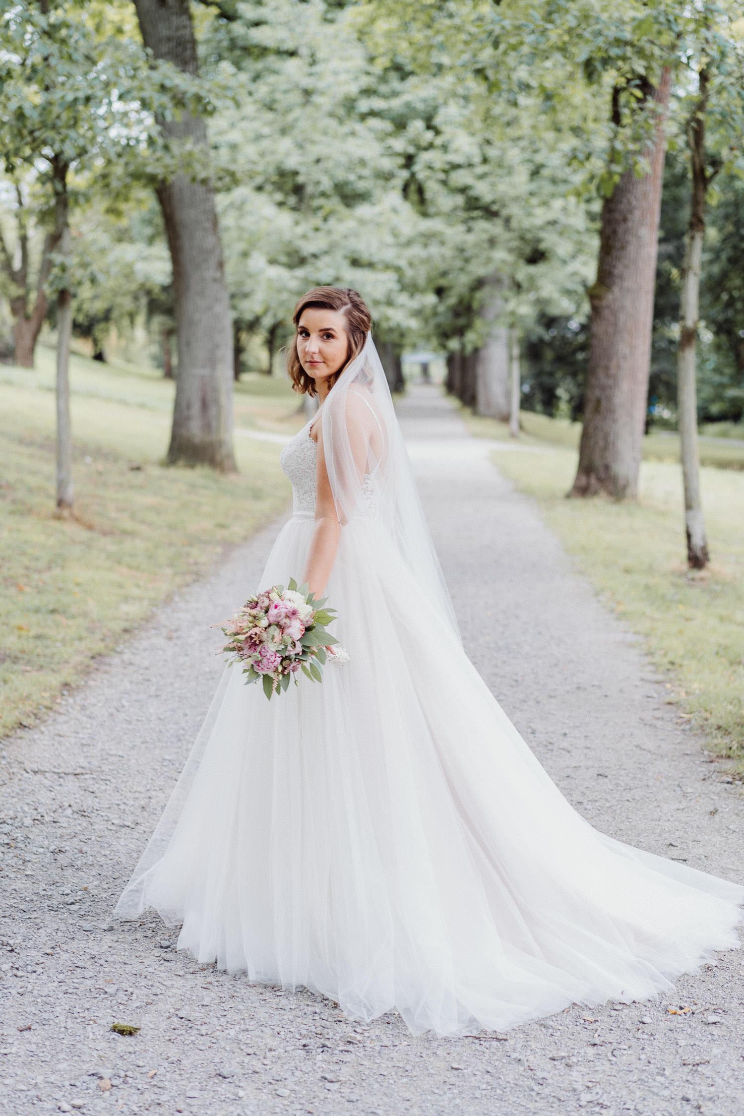 Hochzeitsfoto Braut auf dem Johannisberg in Bielefeld