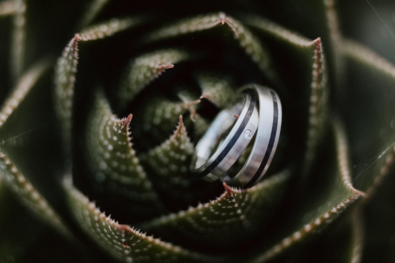Nahaufnahme Eheringe in Silber mit schwarzem Streifen