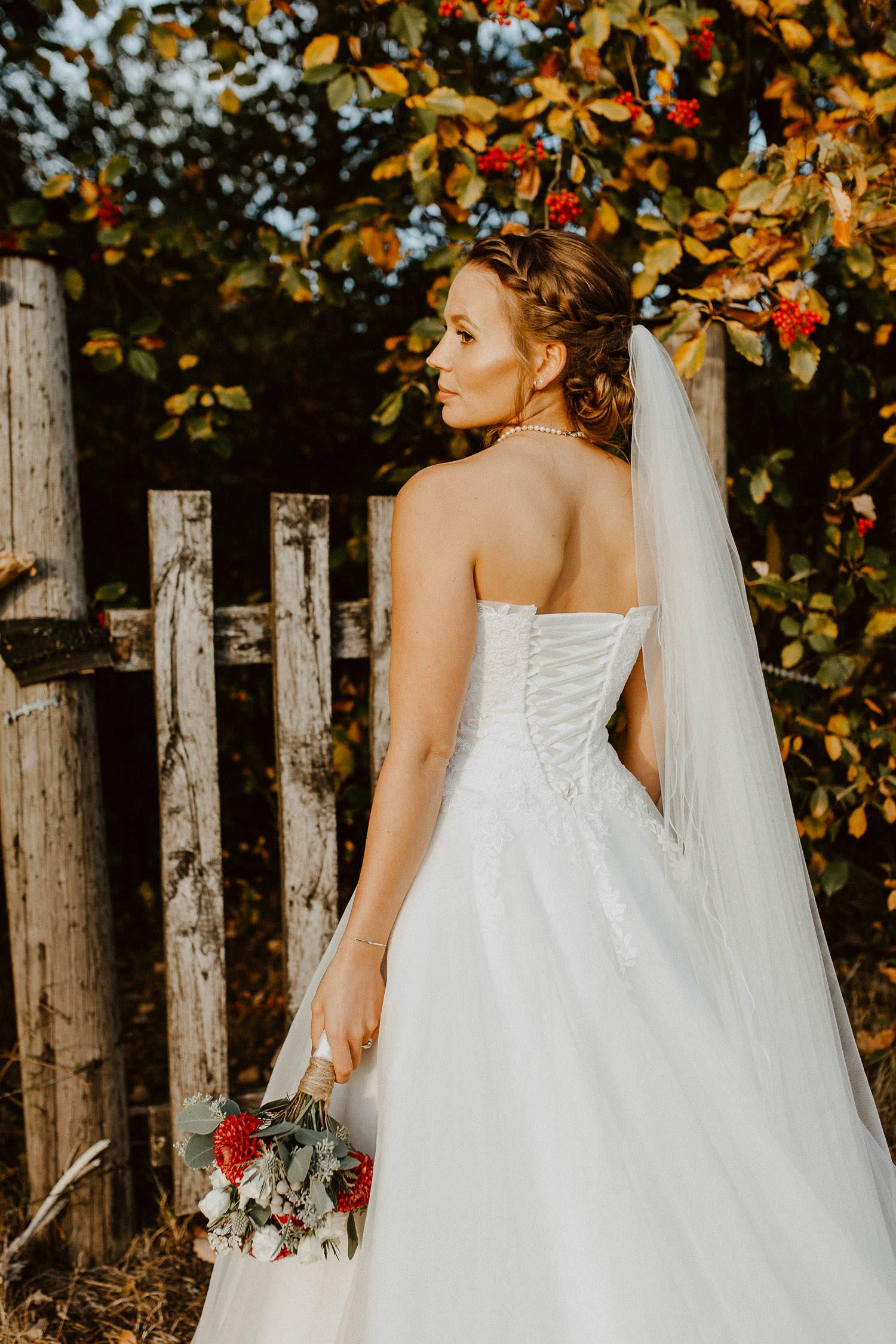 Braut Porträt von Hinten mit Schleier