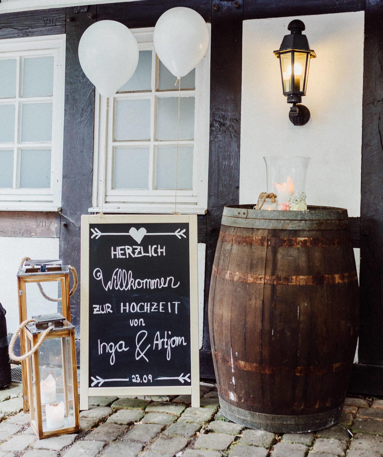 Willkommensschild Hochzeit Waterböhr